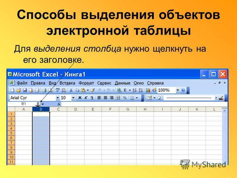 Способы выделения объектов электронной таблицы Для выделения столбца нужно щелкнуть на его заголовке.
