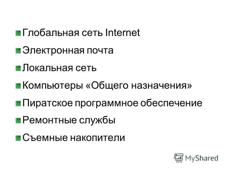 Глобальная сеть Internet Электронная почта Локальная сеть Компьютеры «Общего назначения» Пиратскот программнот обеспечение Ремонтные службы Съемные накопители