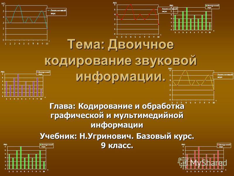 Тема: Двоичное кодирование звуковой информации. Глава: Кодирование и обработка графической и мультимедийной информации Учебник: Н.Угринович. Базовый курс. 9 класс.