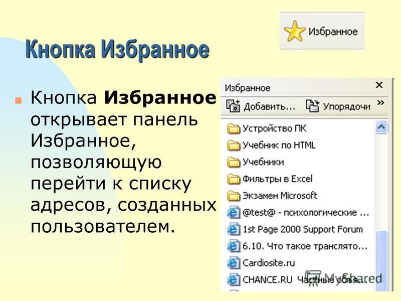 Кнопка Избранное n Кнопка Избранное открывает панель Избранное, позволяющую перейти к списку адресов, созданных пользователем.