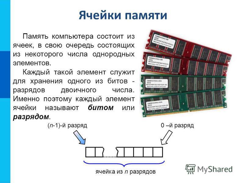 Ячейки памяти Память компьютера состоит из ячеек, в свою очередь состоящих из некоторого числа однородных элементов. ячейка из n разрядов (n-1)-й разряд 0 –й разряд Каждый такой элемент служит для хранения одного из битов - разрядов двоичного числа.