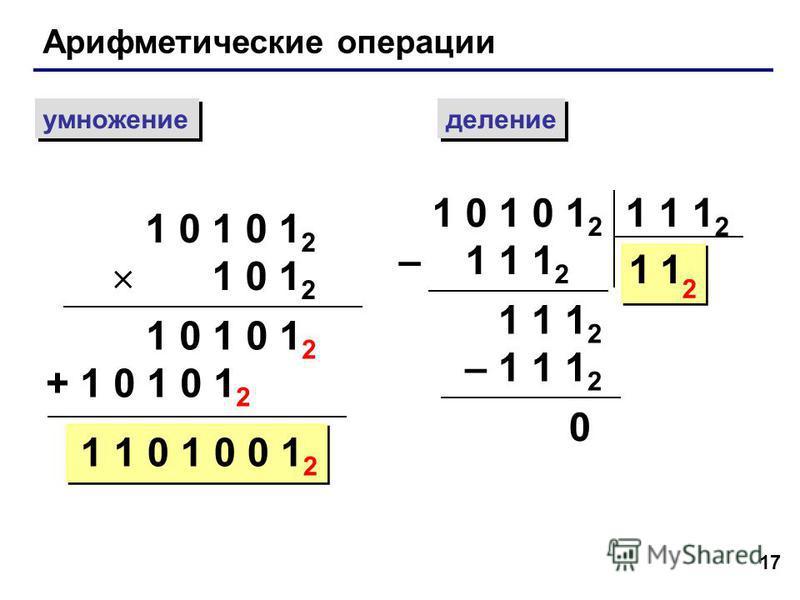 17 Арифметические операции умножение деление 1 0 1 0 1 2 1 0 1 2 1 0 1 0 1 2 + 1 0 1 0 1 2 1 1 0 1 0 0 1 2 1 0 1 0 1 2 – 1 1 1 2 1 1 1 2 11 2 – 1 1 1 2 0