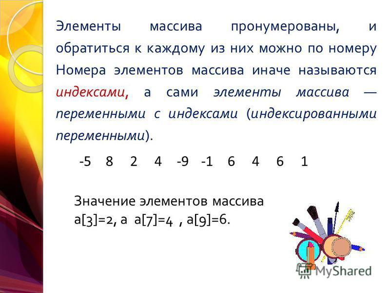 Элементы массива пронумерованы, и обратиться к каждому из них можно по номеру Номера элементов массива иначе называются индексами, а сами элементы массива переменными с индексами ( индексированными переменными ). -5824-96461 Значение элементов массив