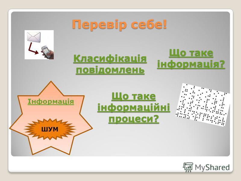 Перевір себе! Класифікація повідомлень Класифікація повідомлень Що таке інформація? Що таке інформація? ШУМ Інформація Що таке інформаційні процеси? Що таке інформаційні процеси?