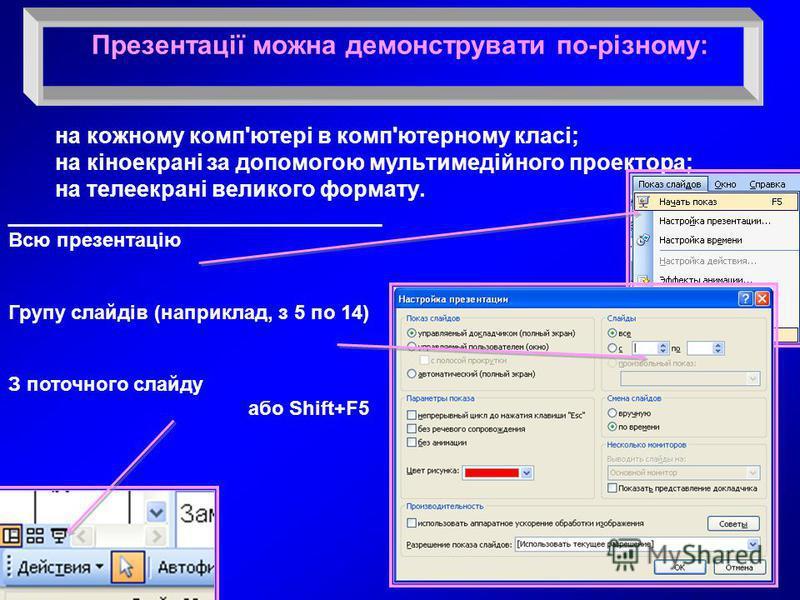 Презентації можна демонструвати по-різному: на кожному комп'ютері в комп'ютерному класі; на кіноекрані за допомогою мультимедійного проектора; на телеекрані великого формату. __________________________________ Всю презентацію Групу слайдів (наприклад