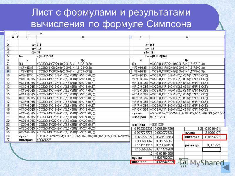 Лист с формулами и результатами вычисления по формуле Симпсона