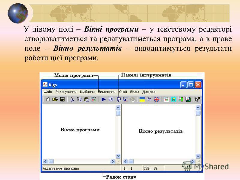 У лівому полі – Вікні програми – у текстовому редакторі створюватиметься та редагуватиметься програма, а в праве поле – Вікно результатів – виводитимуться результати роботи цієї програми.