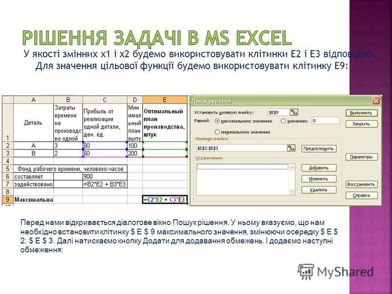 У якості змінних х1 і х2 будемо використовувати клітинки E2 і E3 відповідно. Для значення цільової функції будемо використовувати клітинку E9: Перед нами відкривається діалогове вікно Пошук рішення. У ньому вказуємо, що нам необхідно встановити кліти