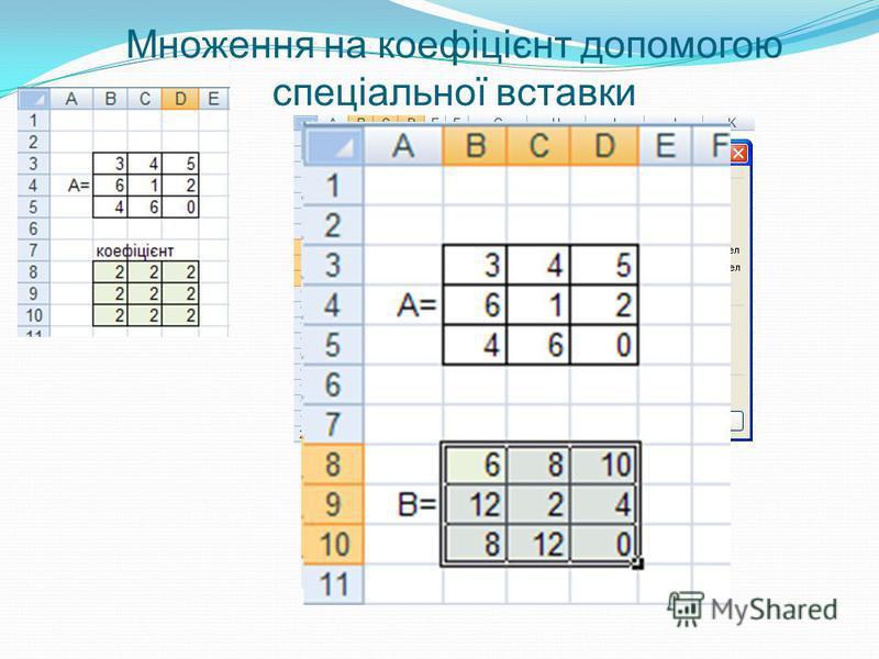 Множення на коефіцієнт допомогою спеціальної вставки