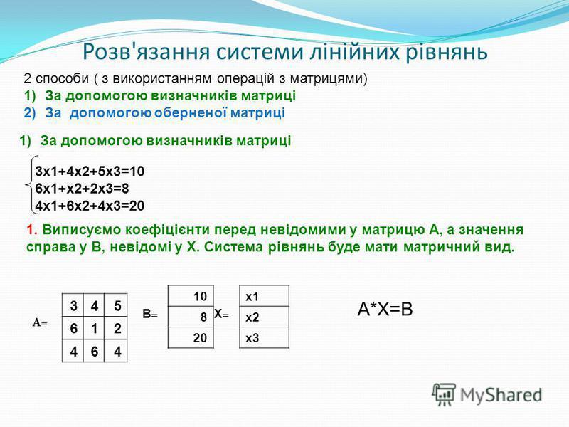 Розв'язання системи лінійних рівнянь 2 способи ( з використанням операцій з матрицями) 1)За допомогою визначників матриці 2)За допомогою оберненої матриці 3х1+4х2+5х3=10 6х1+х2+2х3=8 4х1+6х2+4х3=20 345 612 464 1. Виписуємо коефіцієнти перед невідомим