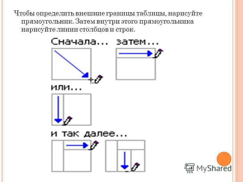 Чтобы определить внешние границы таблицы, нарисуйте прямоугольник. Затем внутри этого прямоугольника нарисуйте линии столбцов и строк.
