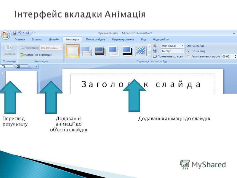 Перегляд результату Додавання анімації до об'єктів слайдів Додавання анімації до слайдів