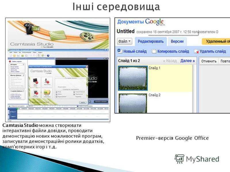Premier-версія Google Office Camtasia Studio можна створювати інтерактивні файли довідки, проводити демонстрацію нових можливостей програм, записувати демонстраційні ролики додатків, комп'ютерних ігор і т.д.