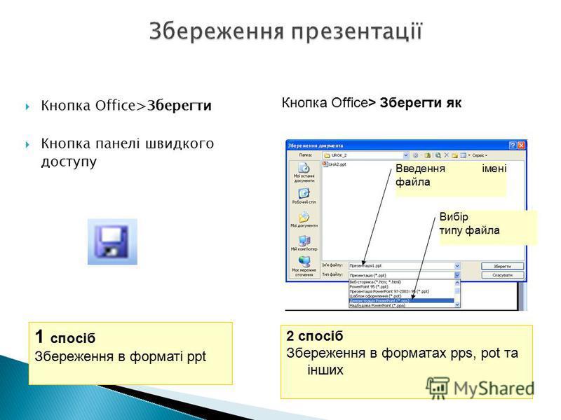 Кнопка Office>Зберегти Кнопка панелі швидкого доступу 1 спосіб Збереження в форматі ppt Кнопка Office> Зберегти як 2 спосіб Збереження в форматах pps, pot та інших Вибір типу файла Введення імені файла