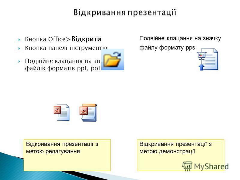 Кнопка Office >Відкрити Кнопка панелі інструментів Подвійне клацання на значках файлів форматів ppt, pot Відкривання презентації з метою редагування Подвійне клацання на значку файлу формату pps Демонстрація документ PowerPoint, який одразу відкриває