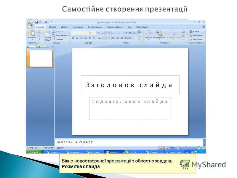 Вікно новоствореної презентації з областю завдань Розмітка слайда