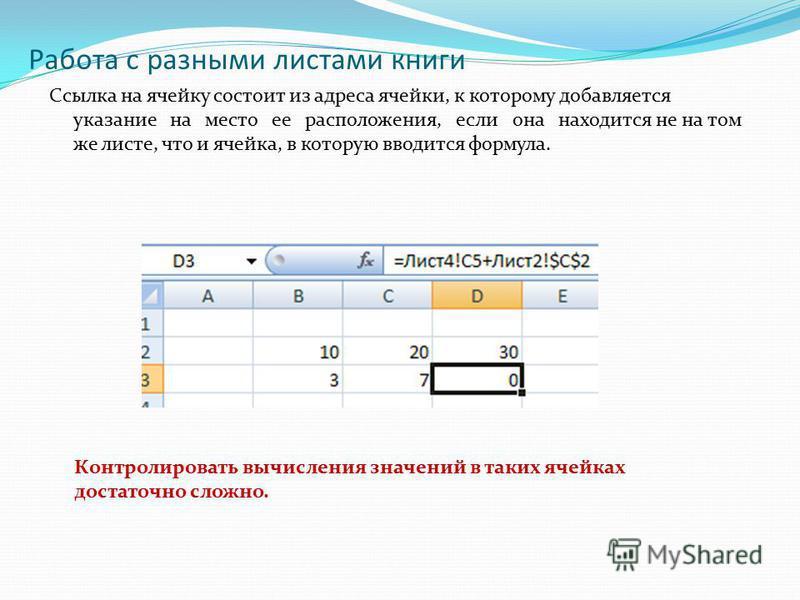 Работа с разными листами книги Ссылка на ячейку состоит из адреса ячейки, к которому добавляется указание на место ее расположения, если она находится не на том же листе, что и ячейка, в которую вводится формула. Контролировать вычисления значений в