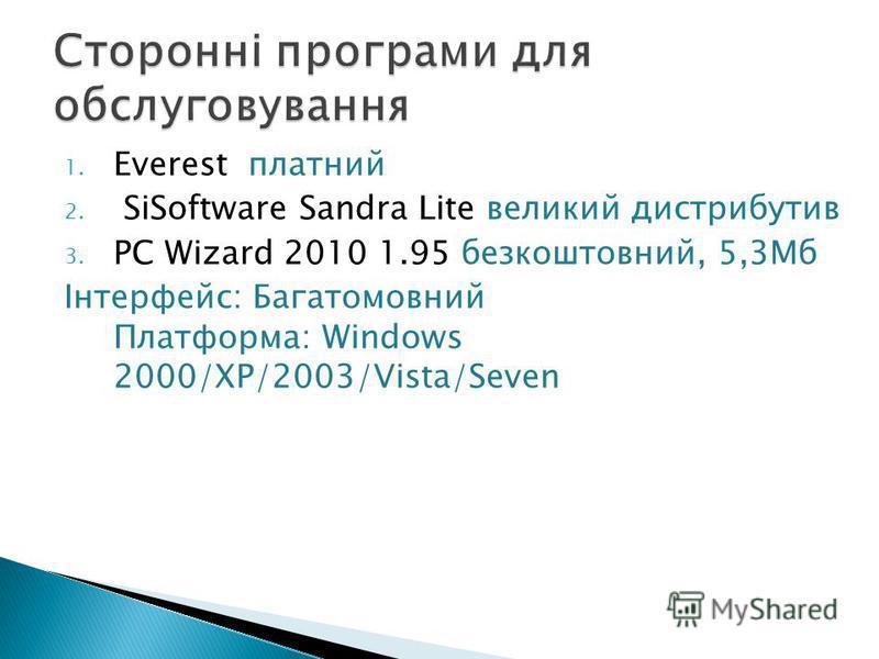 1. Everest платний 2. SiSoftware Sandra Lite великий дистрибутив 3. PC Wizard 2010 1.95 безкоштовний, 5,3Мб Інтерфейс: Багатомовний Платформа: Windows 2000/XP/2003/Vista/Seven