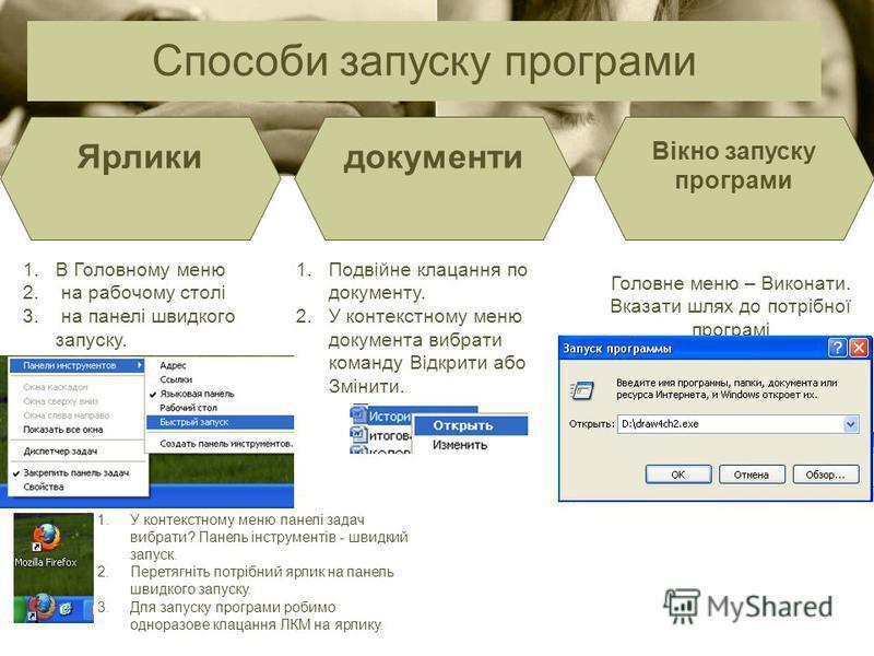 Способи запуску програми Ярликидокументи Вікно запуску програми Головне меню – Виконати. Вказати шлях до потрібної програмі 1.В Головному меню 2. на рабочому столі 3. на панелі швидкого запуску. 1.Подвійне клацання по документу. 2.У контекстному меню