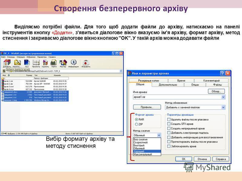 Створення безперервного архіву Виділяємо потрібні файли. Для того щоб додати файли до архіву, натискаємо на панелі інструментів кнопку «Додати», з'явиться діалогове вікно вказуємо ім'я архіву, формат архіву, метод стиснення і закриваємо діалогове вік