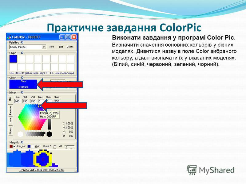 Практичне завдання ColorPic Виконати завдання у програмі Color Pic. Визначити значення основних кольорів у різних моделях. Дивитися назву в поле Color вибраного кольору, а далі визначати їх у вказаних моделях. (Білий, синій, червоний, зелений, чорний