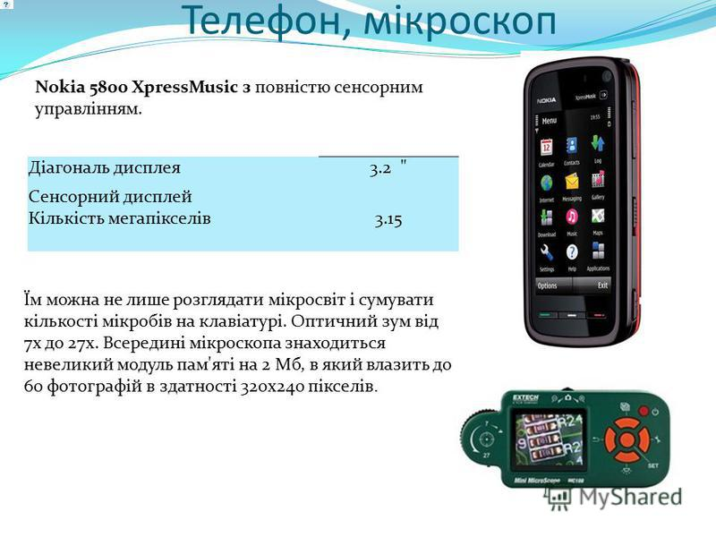 Телефон, мікроскоп Їм можна не лише розглядати мікросвіт і сумувати кількості мікробів на клавіатурі. Оптичний зум від 7х до 27х. Всередині мікроскопа знаходиться невеликий модуль пам'яті на 2 Мб, в який влазить до 60 фотографій в здатності 320х240 п