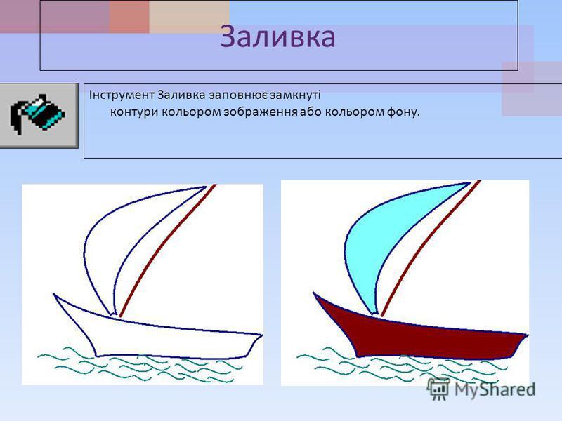 Заливка Інструмент Заливка заповнює замкнуті контури кольором зображення або кольором фону.