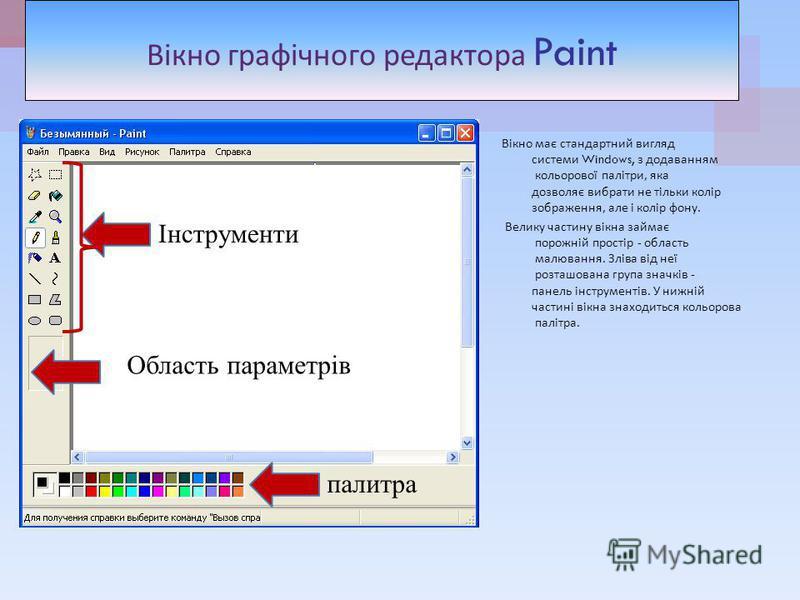 Вікно графічного редактора Paint Вікно має стандартний вигляд системи Windows, з додаванням кольорової палітри, яка дозволяє вибрати не тільки колір зображення, але і колір фону. Велику частину вікна займає порожній простір - область малювання. Зліва
