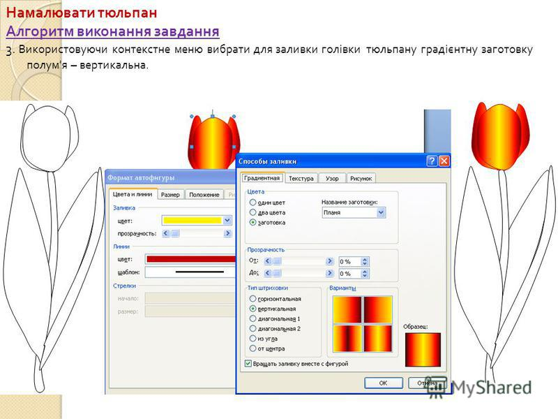 Намалювати тюльпан Алгоритм виконання завдання 3. Використовуючи контекстне меню вибрати для заливки голівки тюльпану градієнтну заготовку полум ' я – вертикальна.
