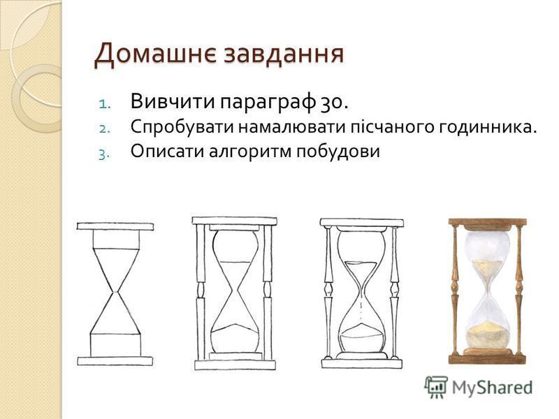 Домашнє завдання 1. Вивчити параграф 30. 2. Спробувати намалювати пісчаного годинника. 3. Описати алгоритм побудови