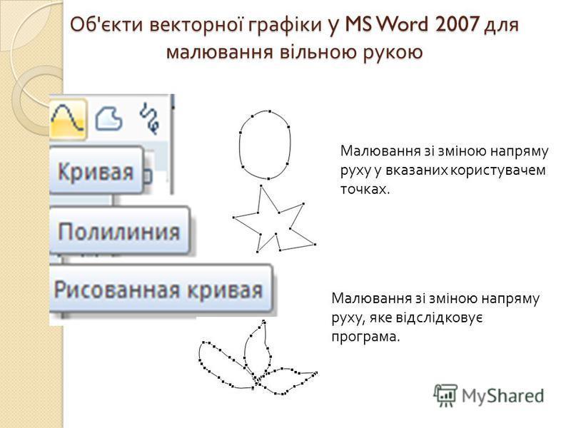 Об ' єкти векторної графіки у MS Word 2007 для малювання вільною рукою Малювання зі зміною напряму руху у вказаних користувачем точках. Малювання зі зміною напряму руху, яке відслідковує програма.