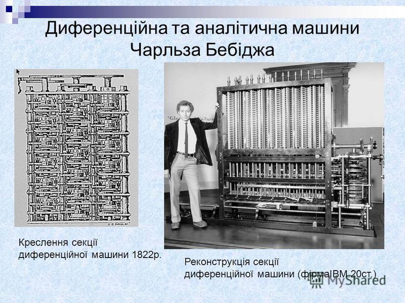 Диференційна та аналітична машини Чарльза Бебіджа Креслення секції диференційної машини 1822р. Реконструкція секції диференційної машини (фірмаIBM.20ст.)