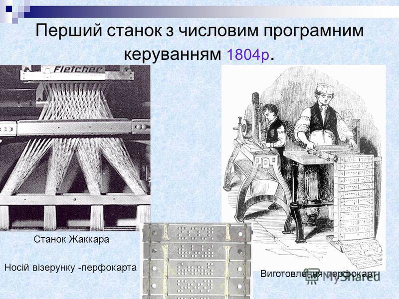 Перший станок з числовим програмним керуванням 1804р. Станок Жаккара Виготовлення перфокарт Носій візерунку -перфокарта