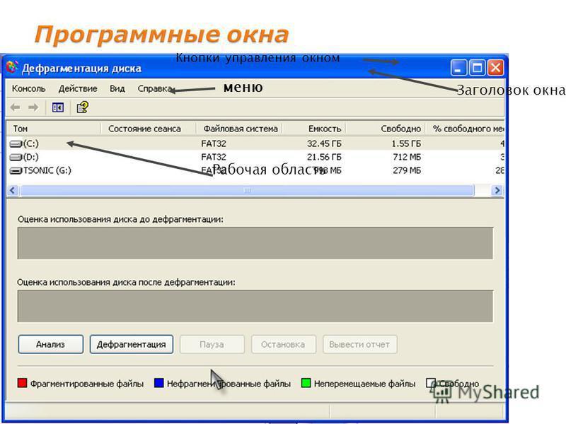 Заголовок окна Кнопки управления окном меню Рабочая область