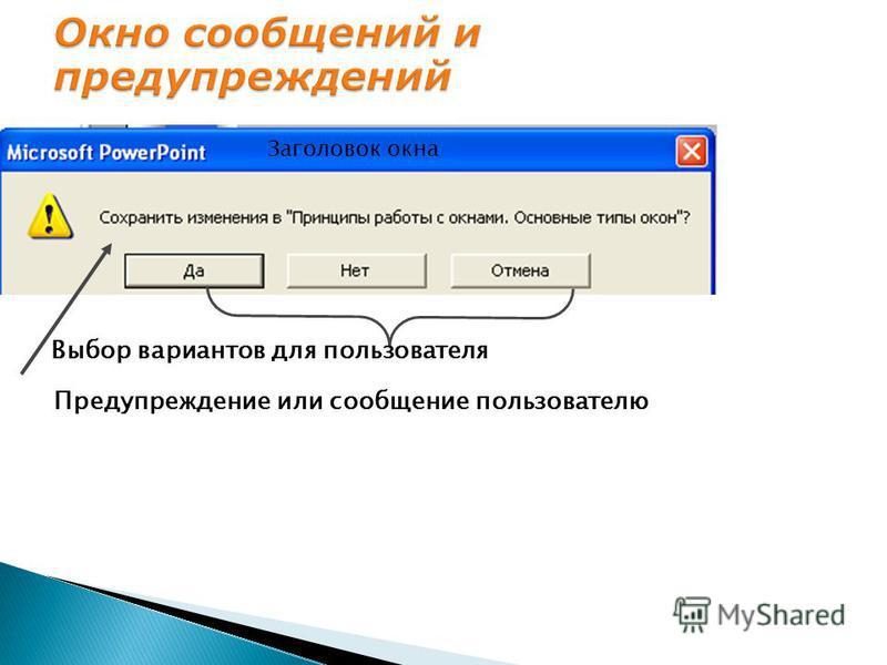 Заголовок окна Предупреждение или сообщение пользователю Выбор вариантов для пользователя