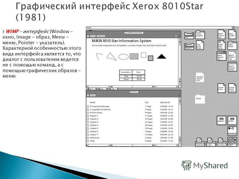 ) WIMP - интерфейс (Window - окно, Image - образ, Menu - меню, Pointer - указатель). Характерной особенностью этого вида интерфейса является то, что диалог с пользователем ведется не с помощью команд, а с помощью графических образов - меню