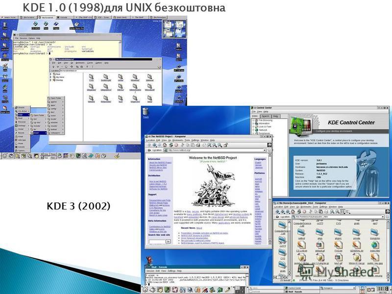 KDE 3 (2002) KDE 1.0 (1998)для UNIX безкоштовна