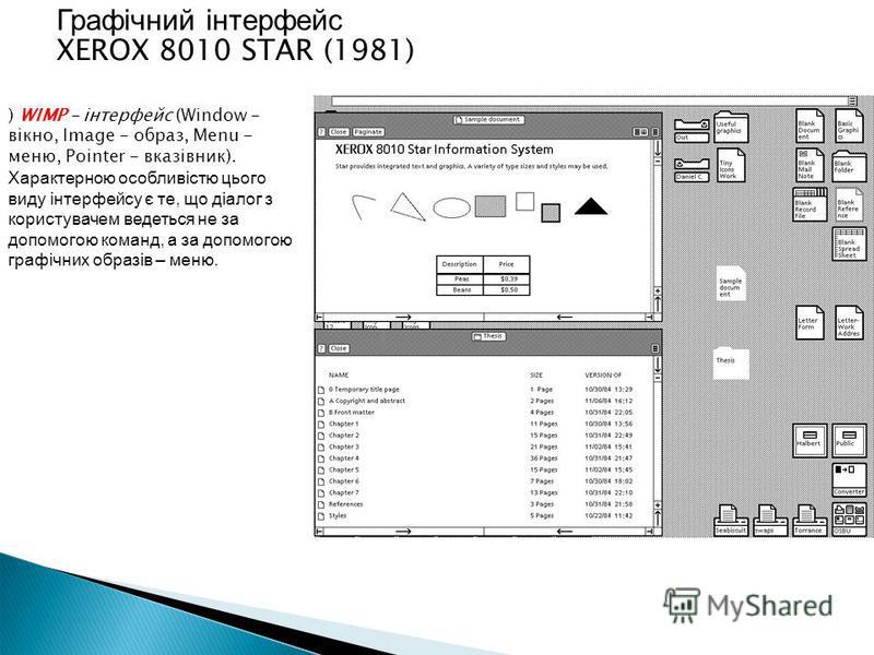 ) WIMP - інтерфейс (Window - вікно, Image - образ, Menu - меню, Pointer - вказівник). Характерною особливістю цього виду інтерфейсу є те, що діалог з користувачем ведеться не за допомогою команд, а за допомогою графічних образів – меню. Графічний інт