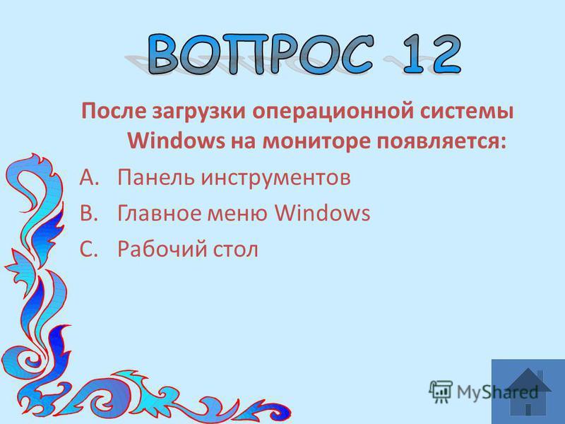 После загрузки операционной системы Windows на мониторе появляется: A.Панель инструментов B.Главное меню Windows C.Рабочий стол