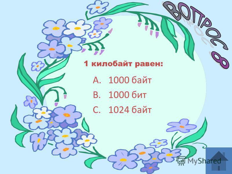 A.1000 байт B.1000 бит C.1024 байт 1 килобайт равен:
