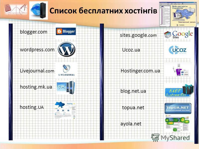 blogger.com wordpress.com Livejournal.com blog.net.ua hosting. UA Ucoz.ua ayola.net topua.net Hostinger.com.ua hosting.mk.ua Список бесплатних хостінгів sites.google.com