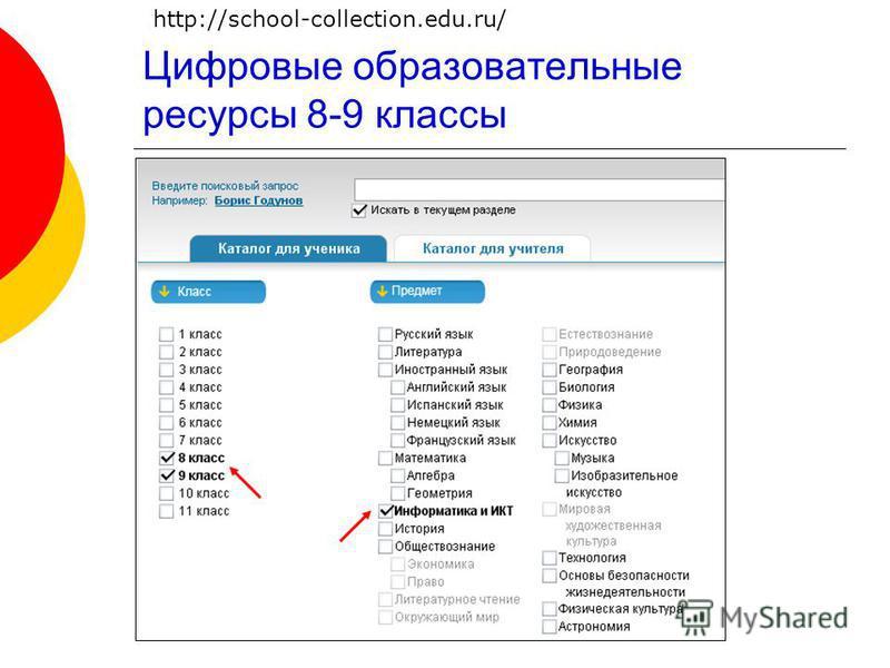 Цифровые образовательные ресурсы 8-9 классы http://school-collection.edu.ru/