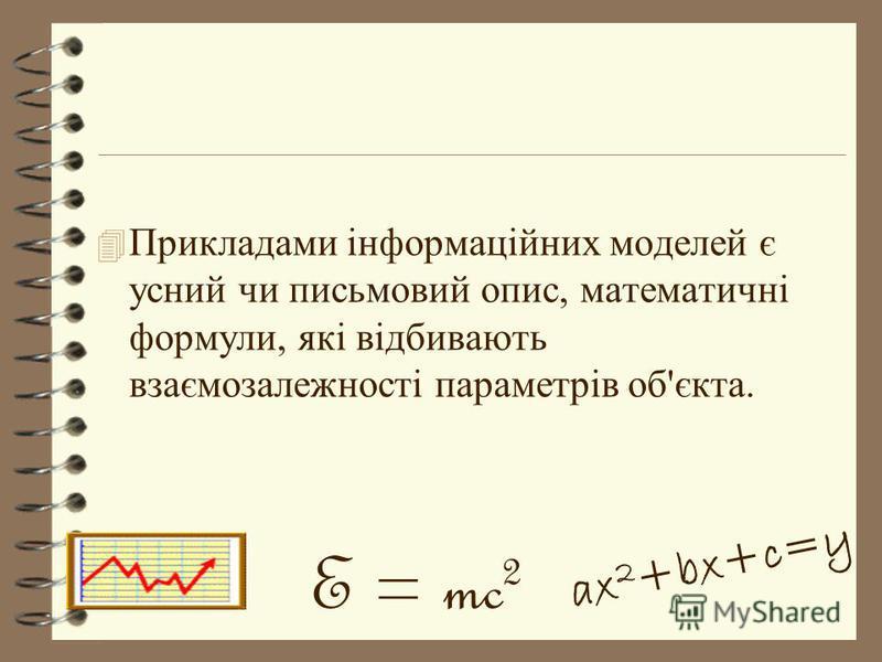 4 Прикладами інформаційних моделей є усний чи письмовий опис, математичні формули, які відбивають взаємозалежності параметрів об'єкта. E = mc 2 ax 2 +bx+c=y