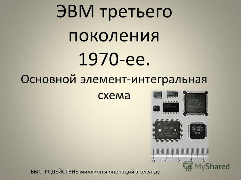 ЭВМ третьего поколения 1970-ее. Основной элемент-интегральная схема БЫСТРОДЕЙСТВИЕ-миллионы операций в секунду