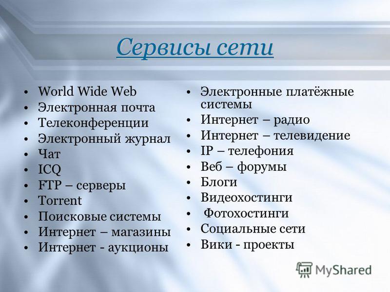 Сервисы сети World Wide Web Электронная почта Телеконференции Электронный журнал Чат ICQ FTP – серверы Torrent Поисковые системы Интернет – магазины Интернет - аукционы Электронные платёжные системы Интернет – радио Интернет – телевидение IP – телефо