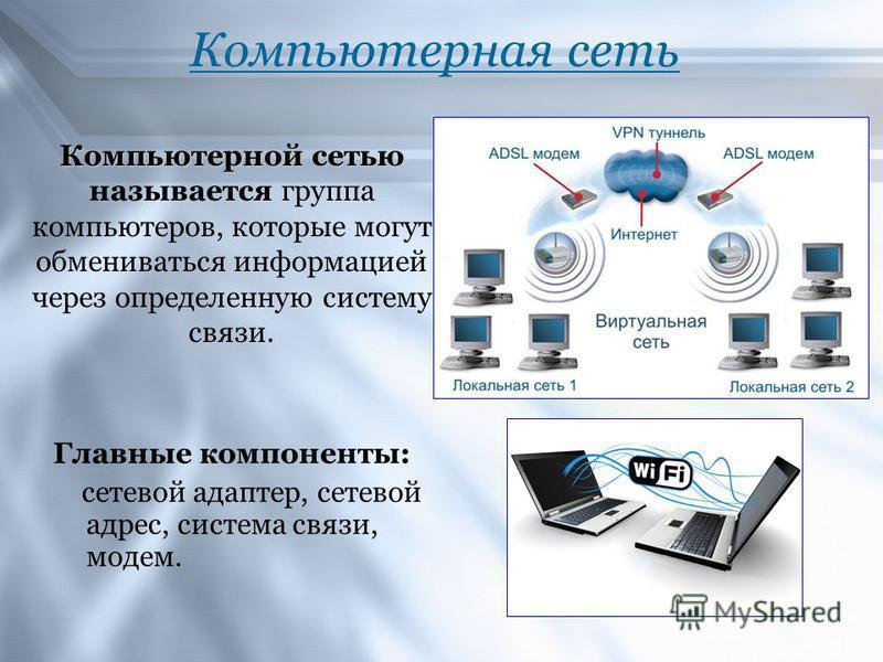Компьютерная сеть Главные компоненты: сетевой адаптер, сетевой адрес, система связи, модем. Компьютерной сетью Компьютерной сетью называется группа компьютеров, которые могут обмениваться информацией через определенную систему связи.
