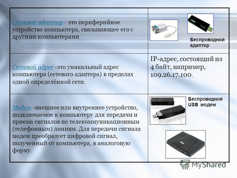 Сетевой адаптер - это периферийное устройство компьютера, связывающее его с другими компьютерами Сетевой адрес -это уникальный адрес компьютера (сетевого адаптера) в пределах одной определённой сети. IP-адрес, состоящий из 4 байт, например, 109.26.17