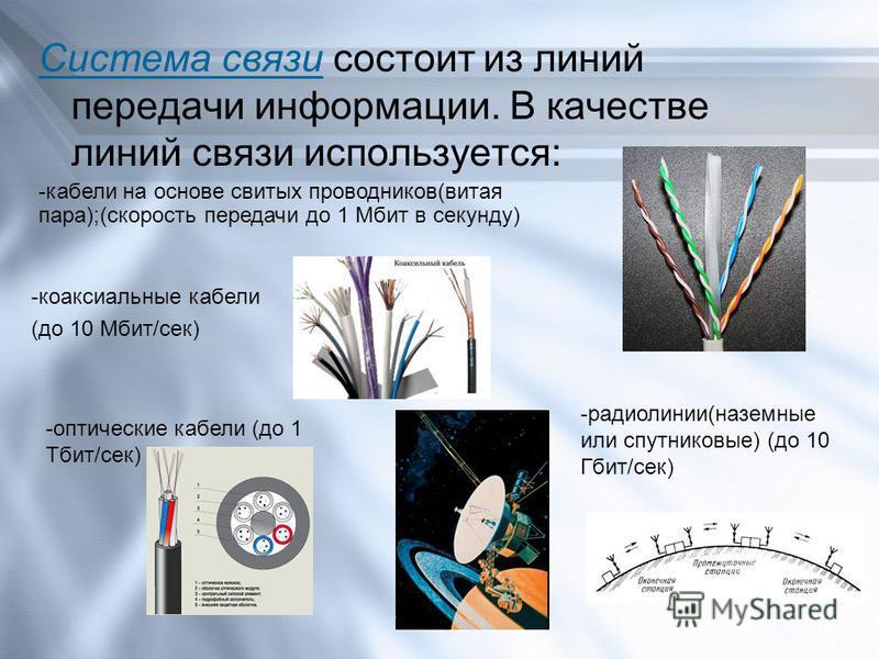 Система связи состоит из линий передачи информации. В качестве линий связи используется: -кабели на основе свитых проводников(витая пара);(скорость передачи до 1 Мбит в секунду) -коаксиальные кабели (до 10 Мбит/сек) -оптические кабели (до 1 Тбит/сек)