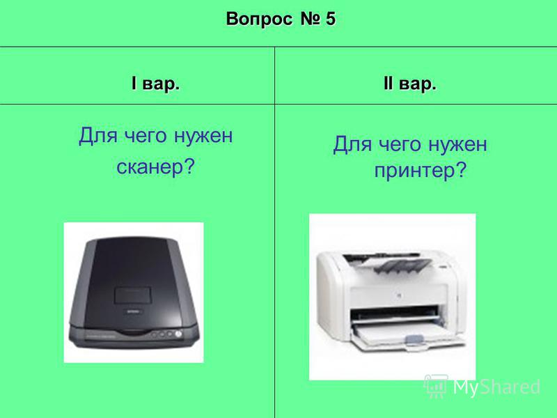 Вопрос 5 I вар. Для чего нужен сканер? II вар. Для чего нужен принтер?