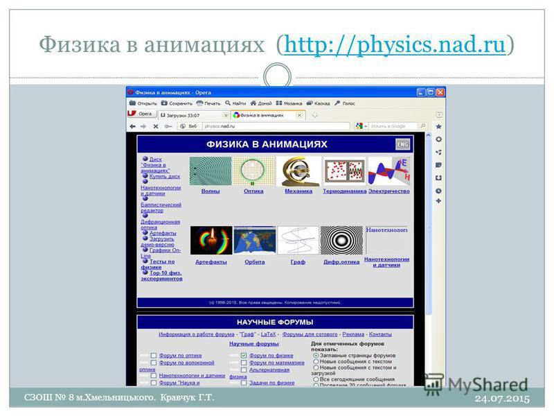 Физика в анимациях (http://physics.nad.ru)http://physics.nad.ru 24.07.2015 СЗОШ 8 м.Хмельницького. Кравчук Г.Т.